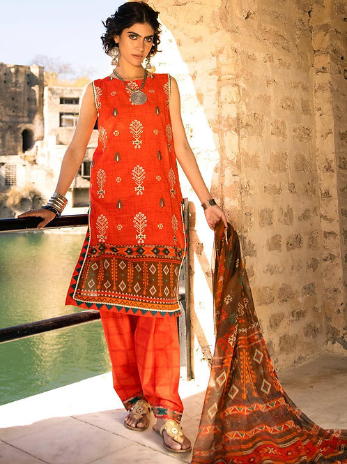Lakhany Lsm | Embroidered Lawn'21 | 03-3Pc Stitched