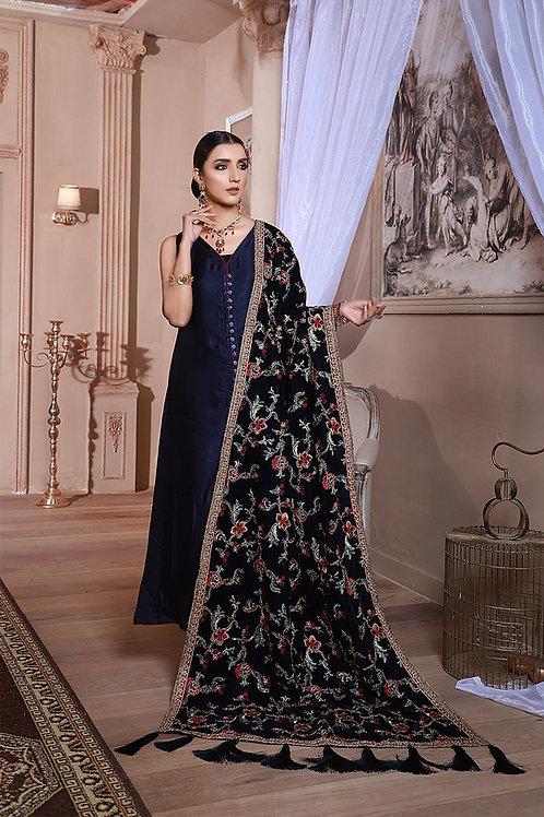 Eman Adeel | Luxury Shawl Collection'20 | Midnight Blue - 3 Pc