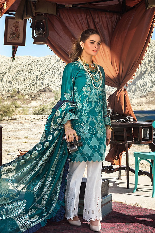 Ittehad | Erum Khan Luxury Lawn 2021 | Deep Emarld -3Pc Stitched