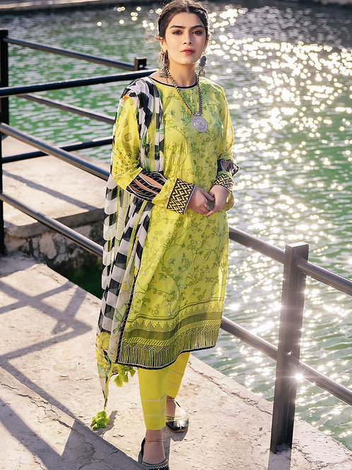 Lakhany Lsm | Embroidered Lawn'21 | 10-3Pc Stitched