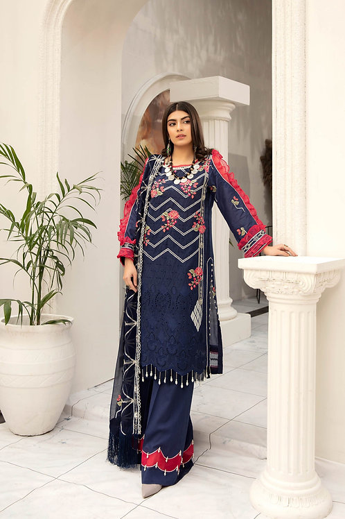 Adans Libas | Schiffli Lawn Chapter 3| Midnight-3Pc Stitched