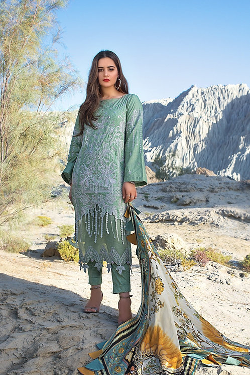 Ittehad | Erum Khan Luxury Lawn 2021 | Pistachio Selene-3Pc Stitched