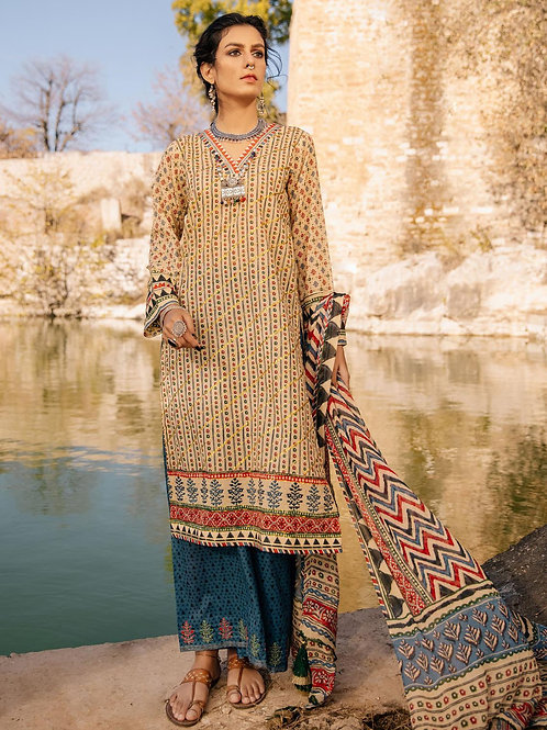 Lakhany Lsm | Embroidered Lawn'21 | 09-3Pc Stitched
