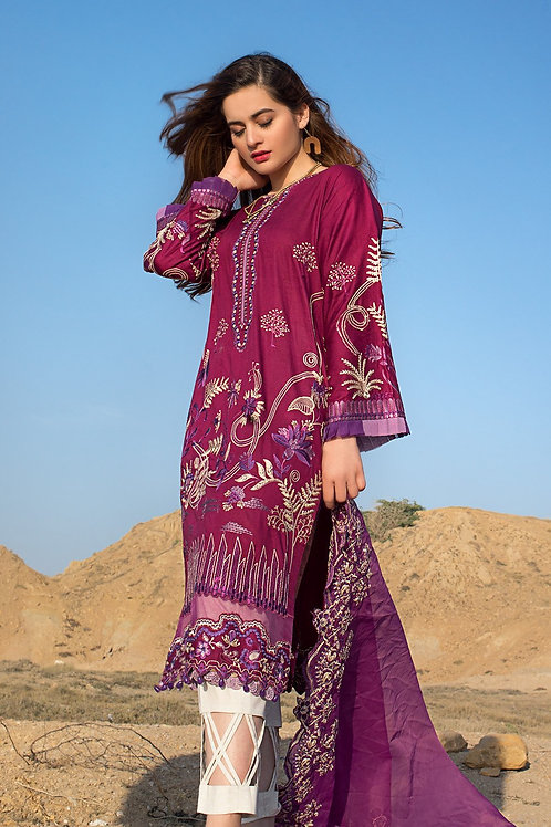 Ittehad | Erum Khan Luxury Lawn 2021 | Peri Winkle-3Pc Stitched
