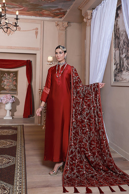 Eman Adeel | Luxury Shawl Collection'20 | Red - 3 Pc