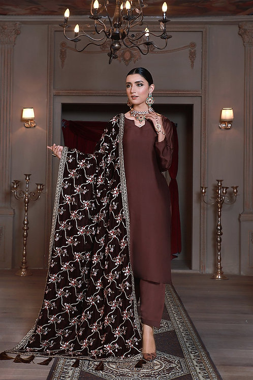 Eman Adeel | Luxury Shawl Collection'20 | Brown - 3 Pc