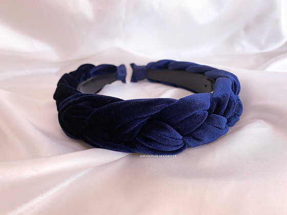 Veloures Headband Navy Blue