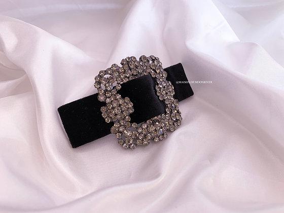 Paris Barrette Velvet Clip - Black