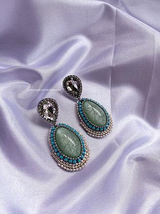 Lolita Beaded Earrings - Sea Green
