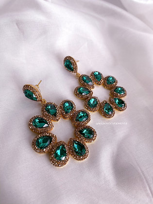 Evelyn Earrings - Emerald Green Crystal