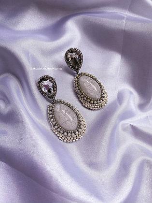 Lolita Beaded Earrings - White Marble Effect