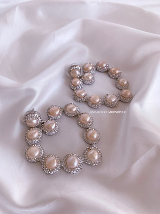 Serendipity Rose Pearl Silver Hearts