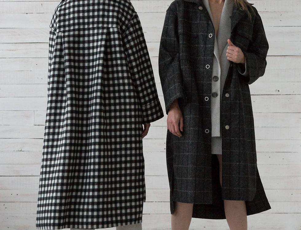 Пальто-рубашка на кнопках, темно-серая клетка