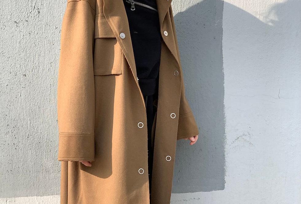 Пальто-рубашка на кнопках, кемел