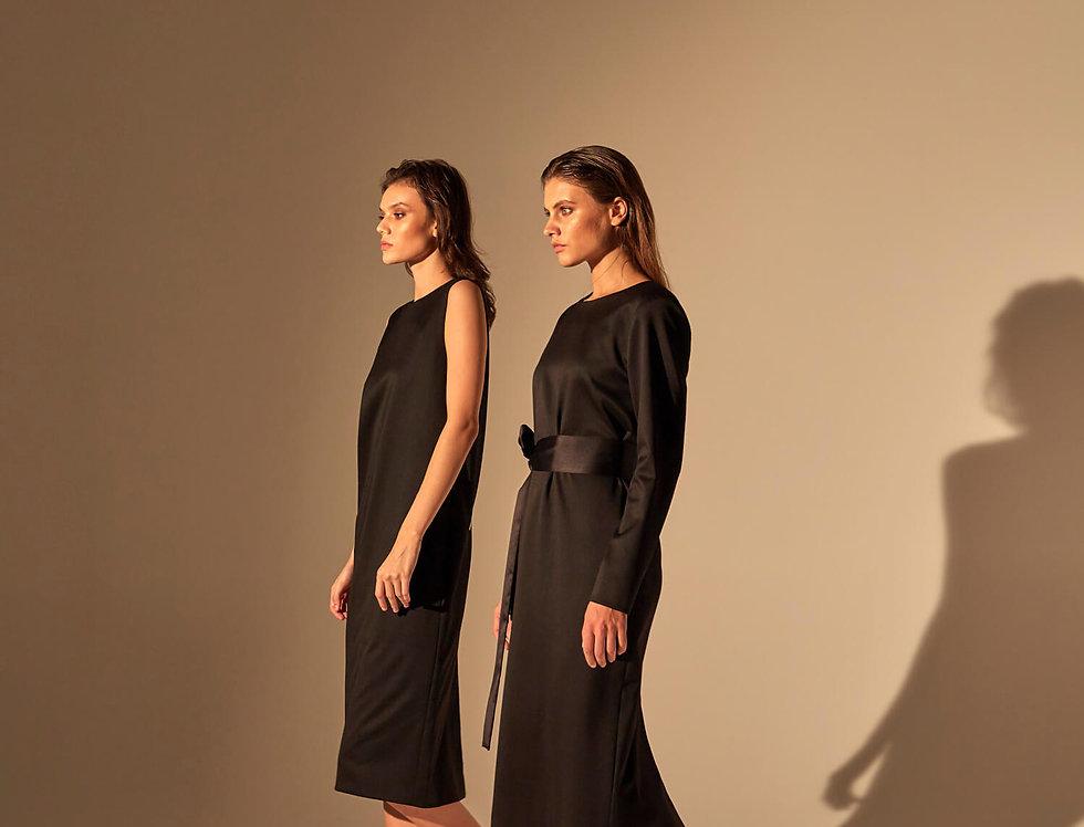 Платье с рукавами, черное