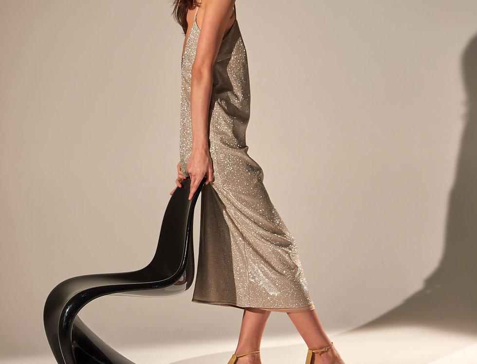 Платье-комбинация с вырезом на спине, золотистое