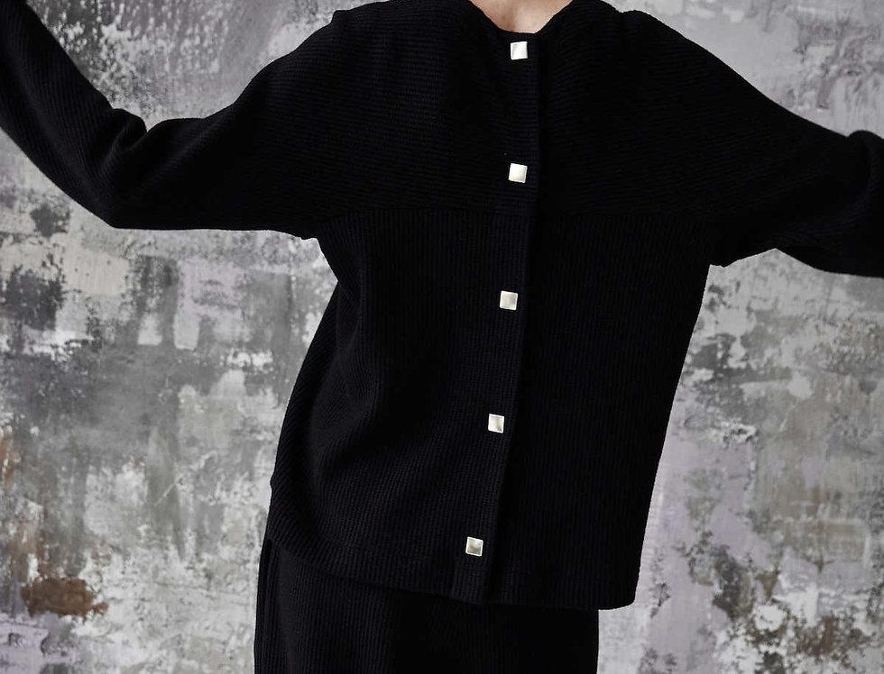 Костюм из вязанного трикотажа, угольно-черный