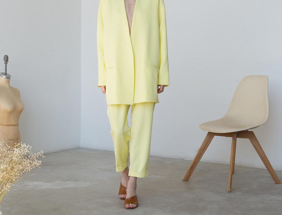 Жакет-планка со спущенным плечом, светло-желтый