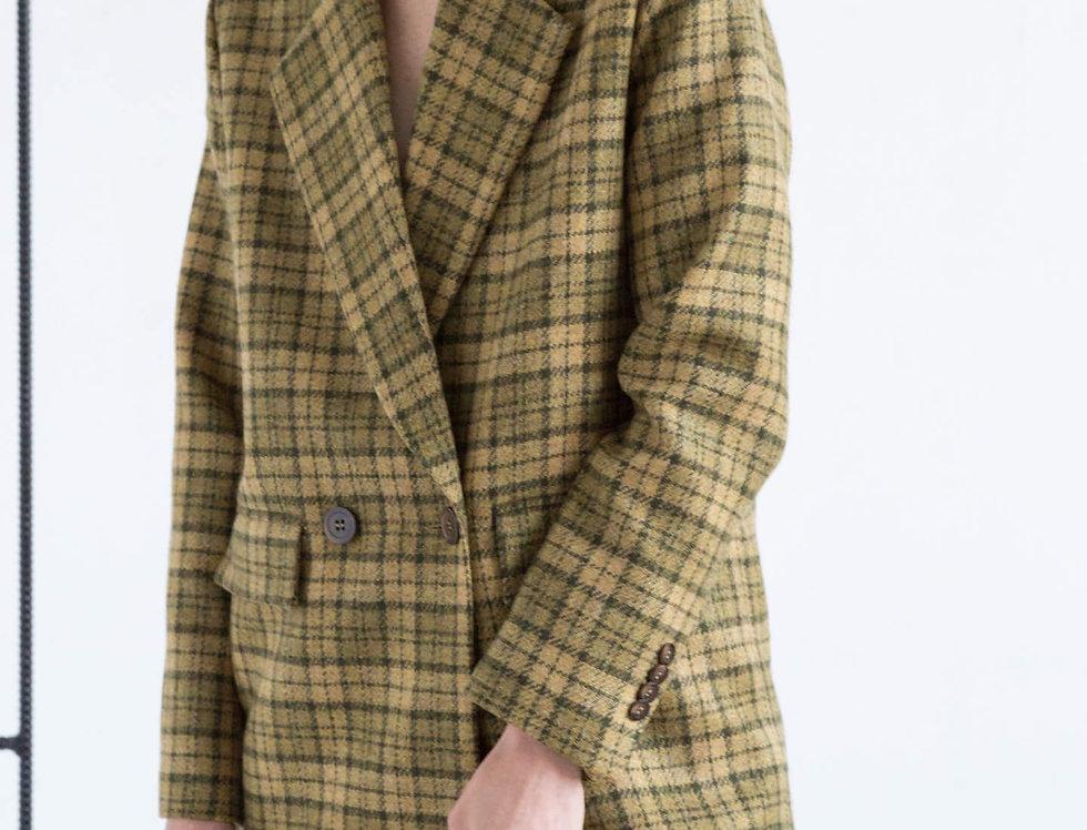 Пальто-пиджак удлиненное, зеленое в клетку