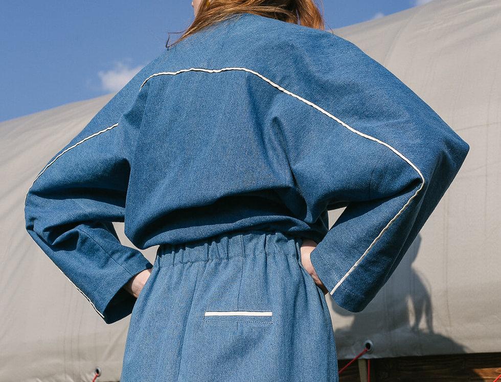 Бомбер джинсовый с кантиком из шелковой органзы