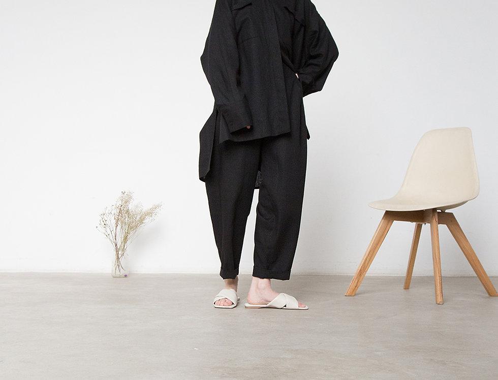 Рубашка оверсайз в мужском стиле, тонкий черный лён