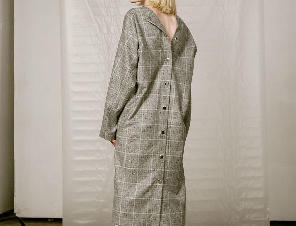 Платье с кнопками на спине шерстяное, серая клетка