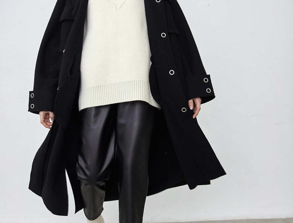 Пальто-рубашка на кнопках, черное
