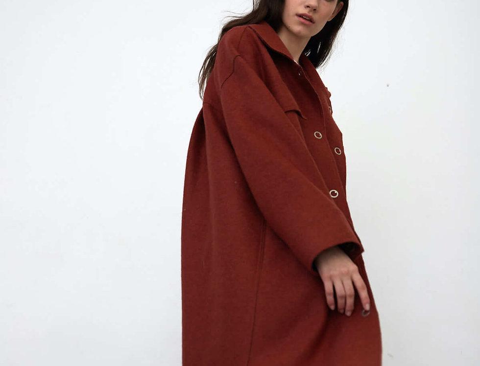 Пальто-рубашка на кнопках, кирпичное