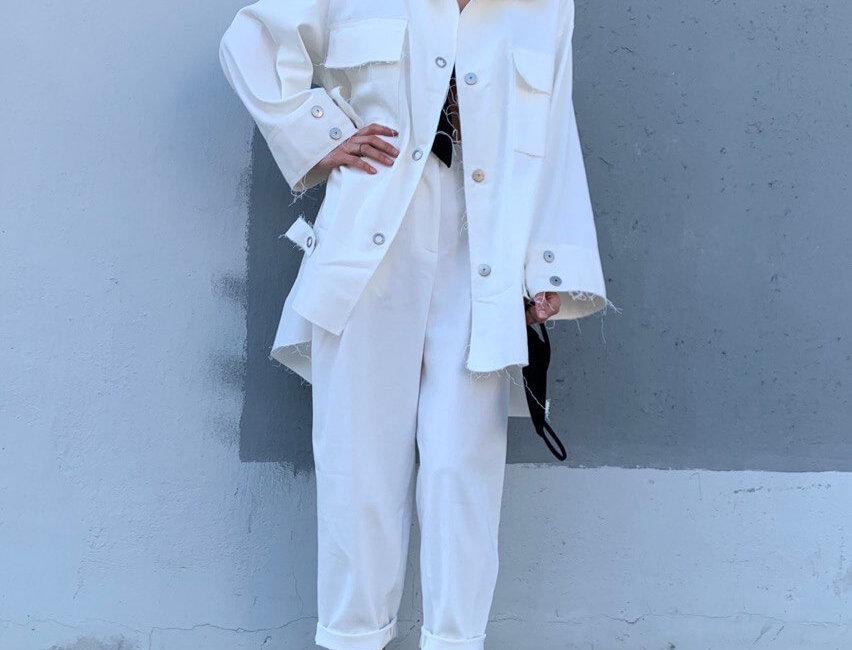 Куртка-рубашка на кнопках, белый деним