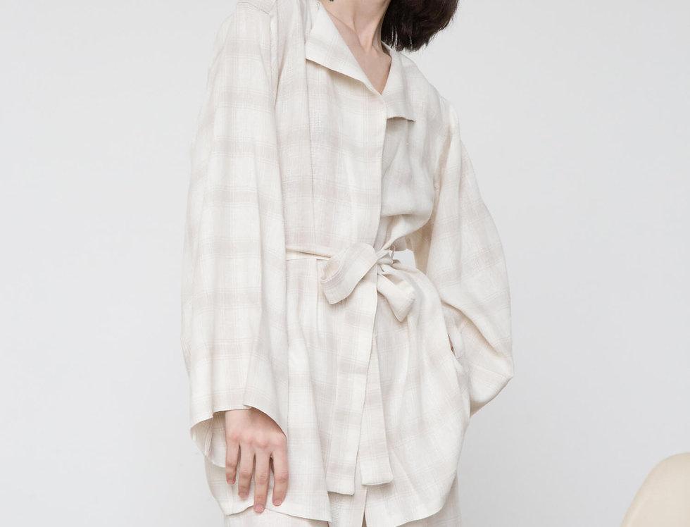 Пижамный стиль.Жакет-кимоно и шорты - комплект, цвет: беж в клетку