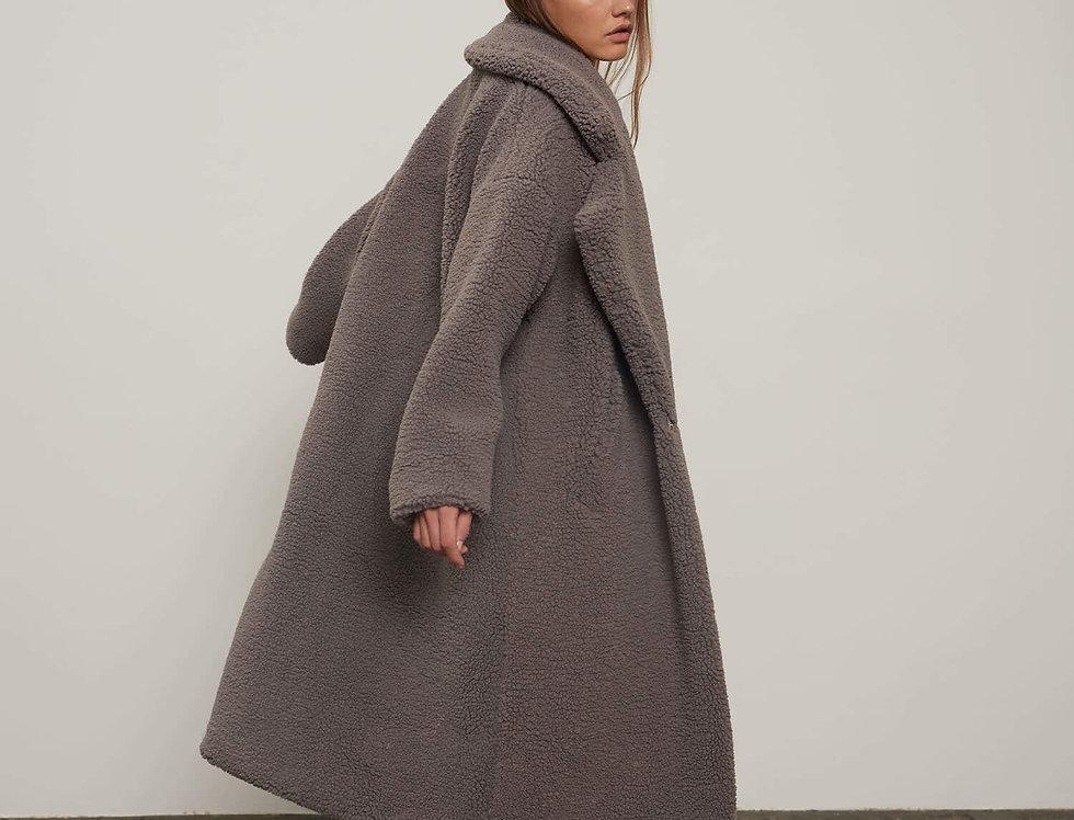 Пальто из экомеха, серое