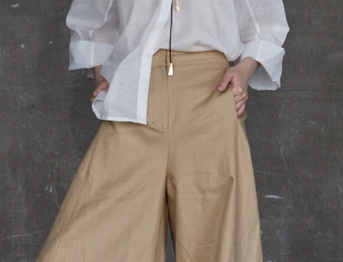 Широкие брюки-палаццо без боковых швов, золотой