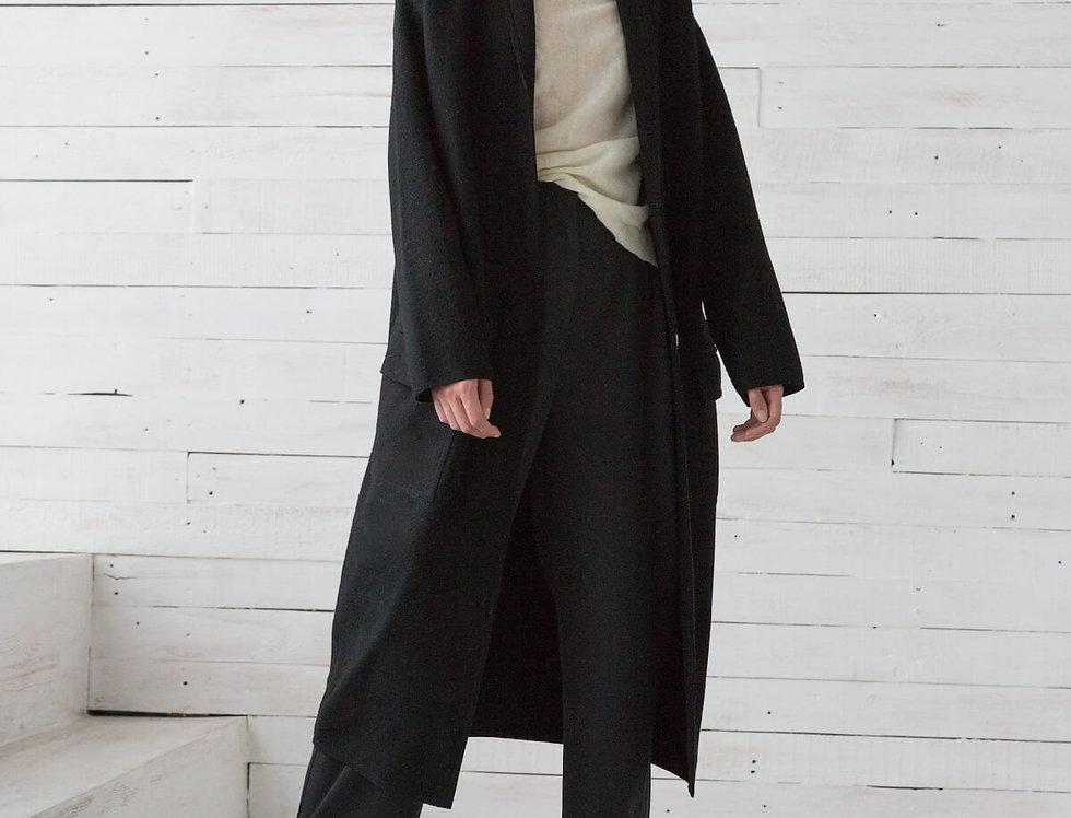 """Пальто прямого кроя с накладными карманами и воротником """"шалька"""", черное"""