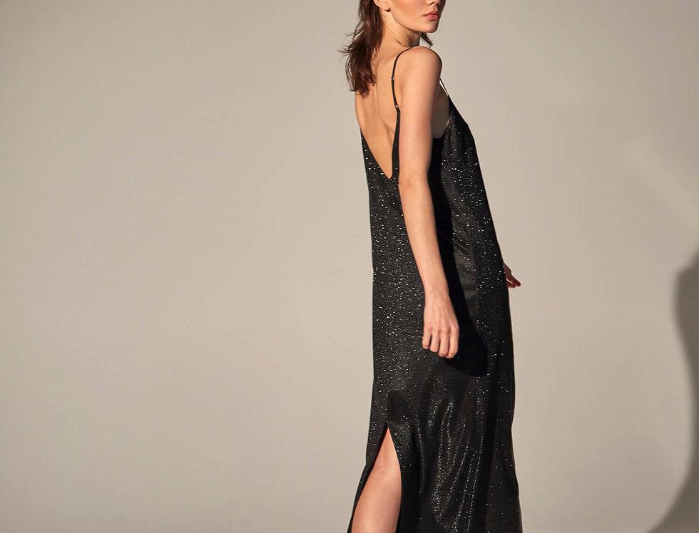 Платье-комбинация с вырезом на спине, черное