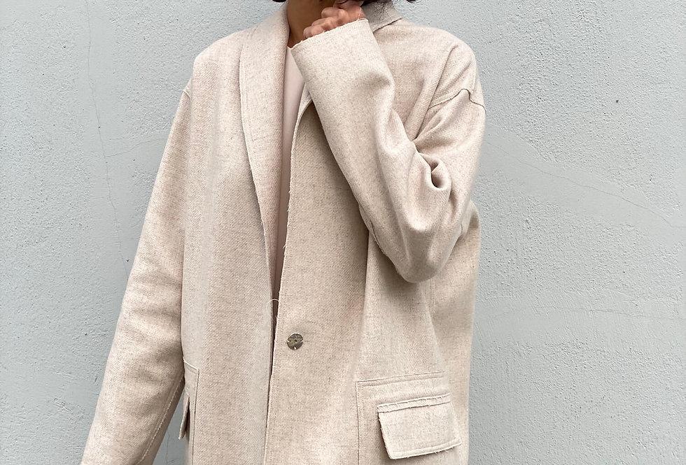 """Пальто прямого кроя с накладными карманами и воротником """"шалька"""""""