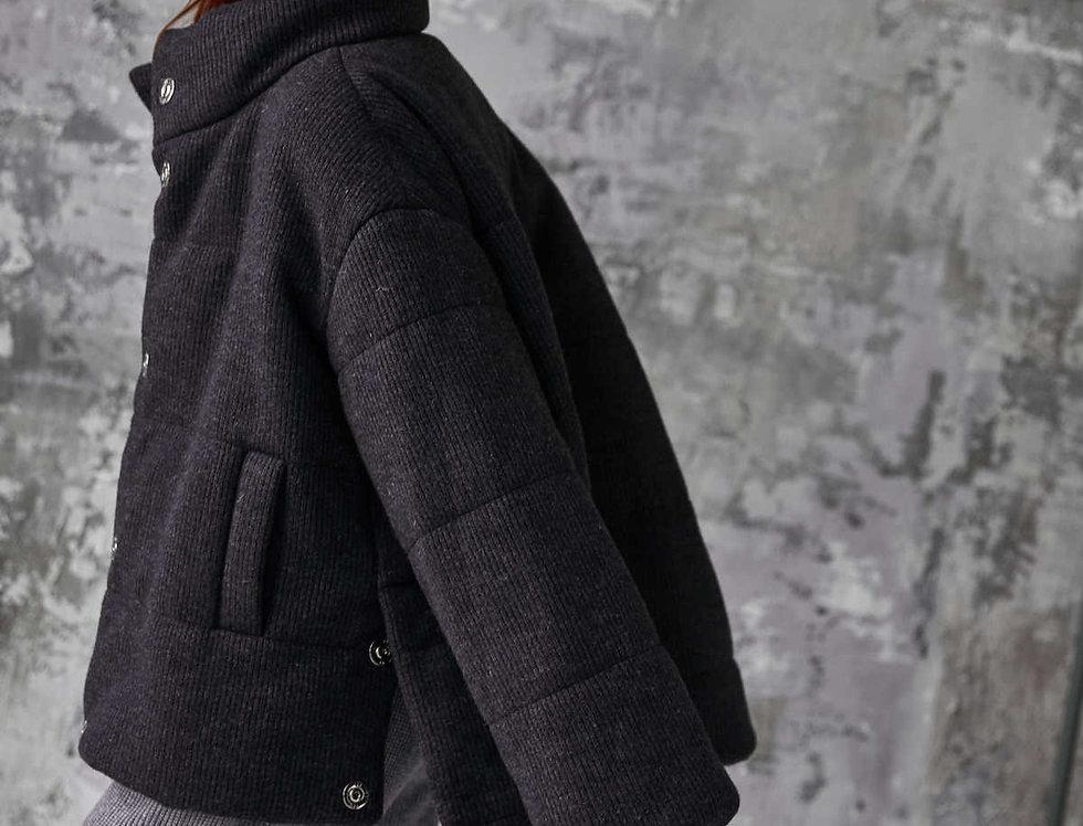 Пуховик короткий, из пальтовой ткани с эффектом вязки