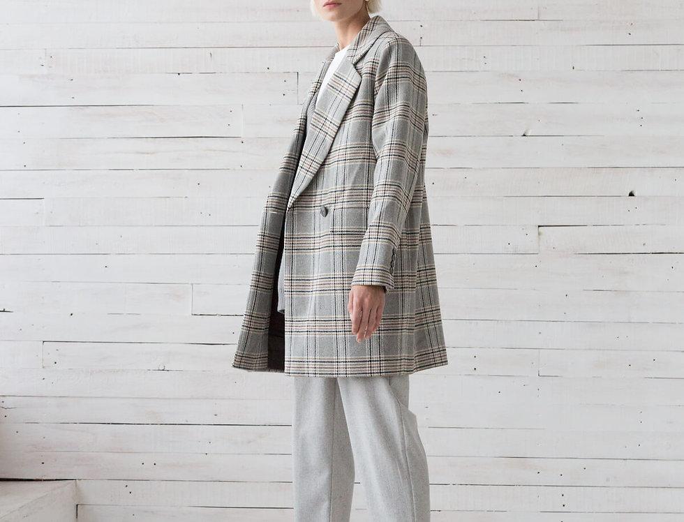 Пальто-пиджак,  cерая клетка с охрой