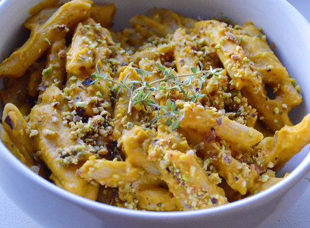 Butternut Squash Chickpea Pasta with Pistachios and Thyme