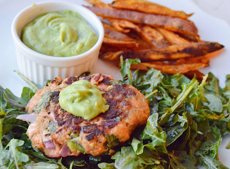 Salmon Burgers with Sweet Potato Fries and Avocado Lime Dipping Sauce