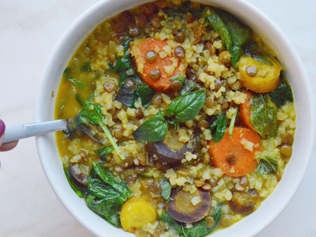 Carrot + Lentil Coconut Curry with Cauliflower Rice