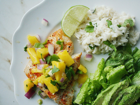 Mango Jalapeno Snapper with Coconut Lime Rice