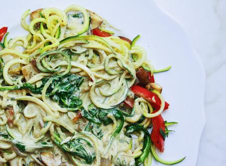 "Italian-Style Zoodles with Vegan ""Alfredo"" Sauce"