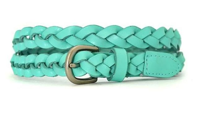 Carol Mint Green Skinny Plaited Leather Belt