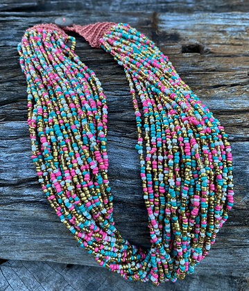 Beaded pink layer necklace
