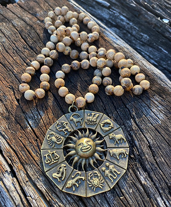 Zodiac Sun Jasper necklace