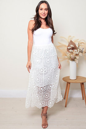 Crochet Maxi Skirt - White
