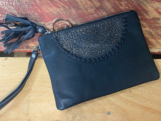Handmade Leather Mandala Clutch