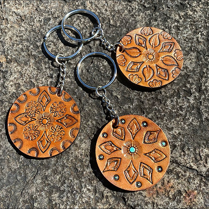 Round Leather Key Fobs