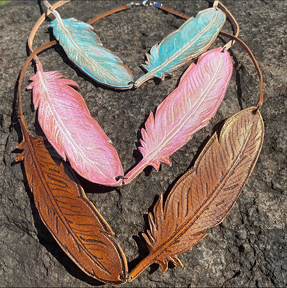 Falling Feathers Handcrafted Leather Necklace