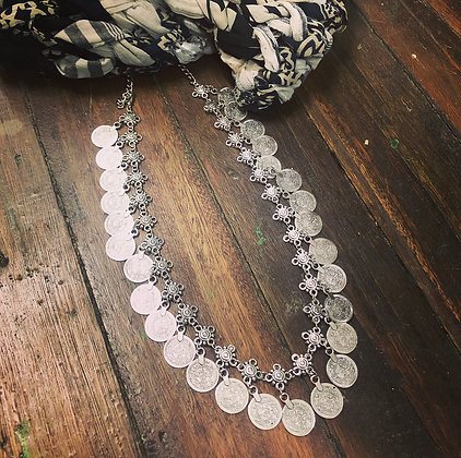Boho Turkish Silver Style Coin Necklace ~ Style 1